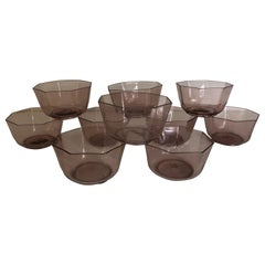 Set of Ten Amber Venetian Glass Bowls or Cups