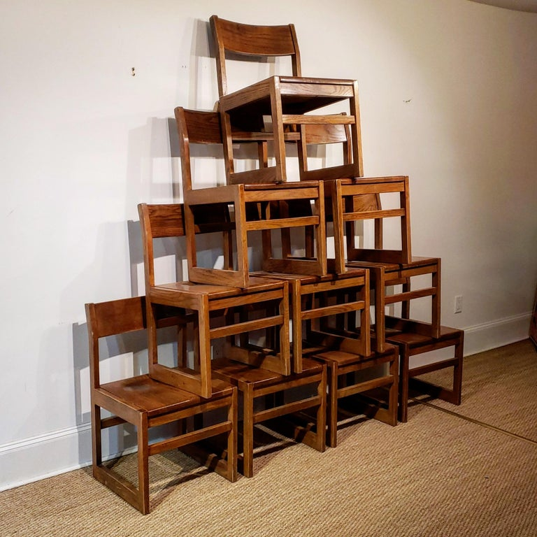 Mid-Century Modern Set of Ten American Oak Dining Chairs For Sale