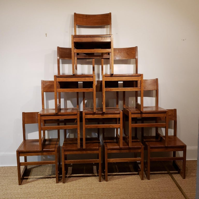 Set of Ten American Oak Dining Chairs In Good Condition For Sale In New York, NY