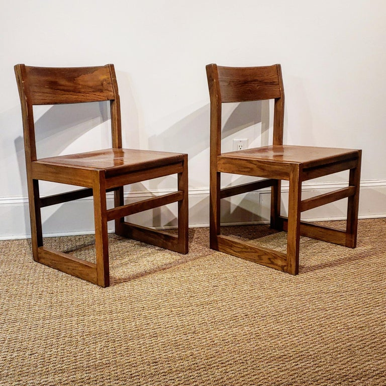Late 20th Century Set of Ten American Oak Dining Chairs For Sale
