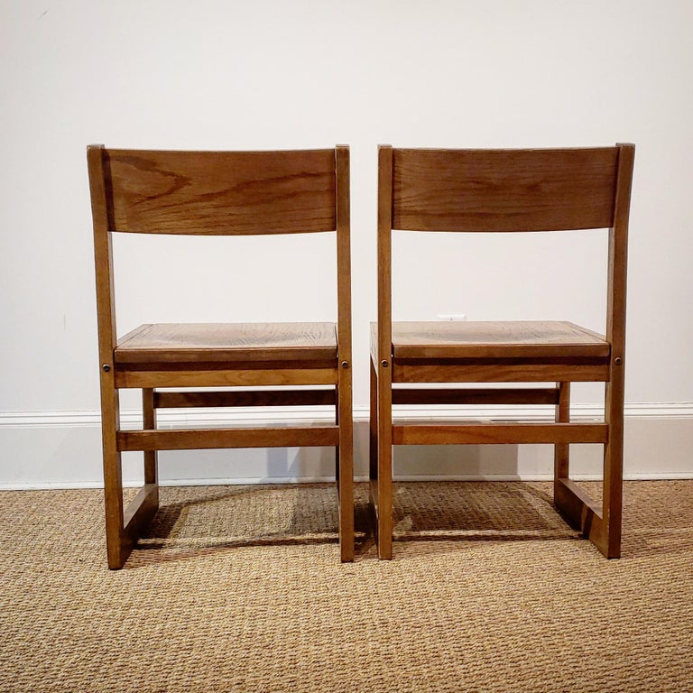 Set of Ten American Oak Dining Chairs For Sale 1