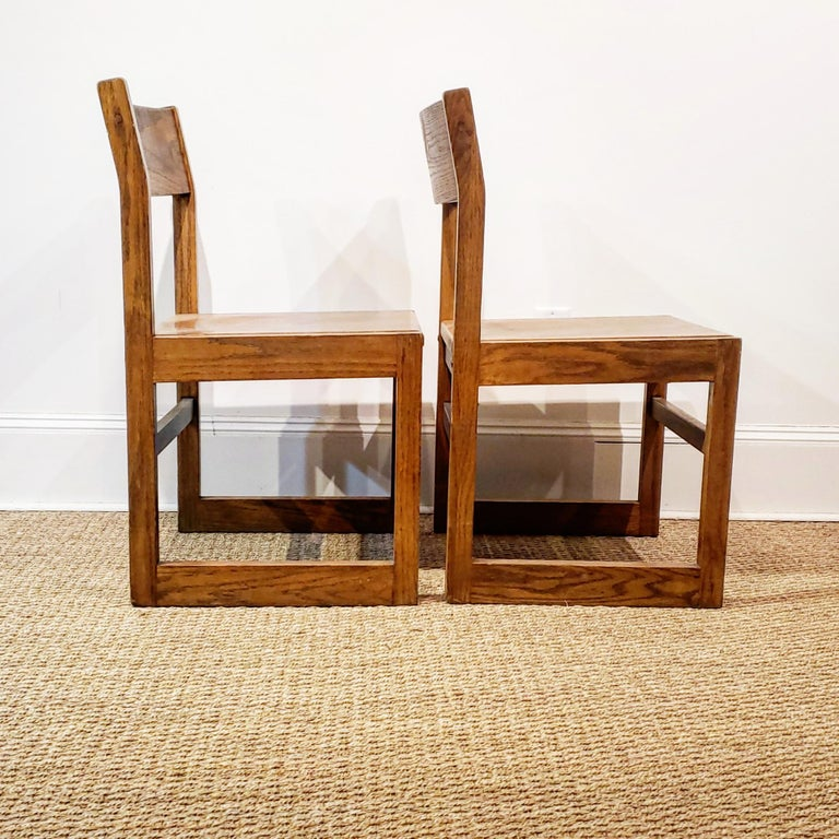 Set of Ten American Oak Dining Chairs For Sale 2