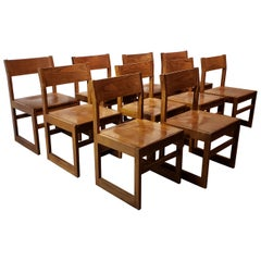 Set of Ten American Oak Dining Chairs