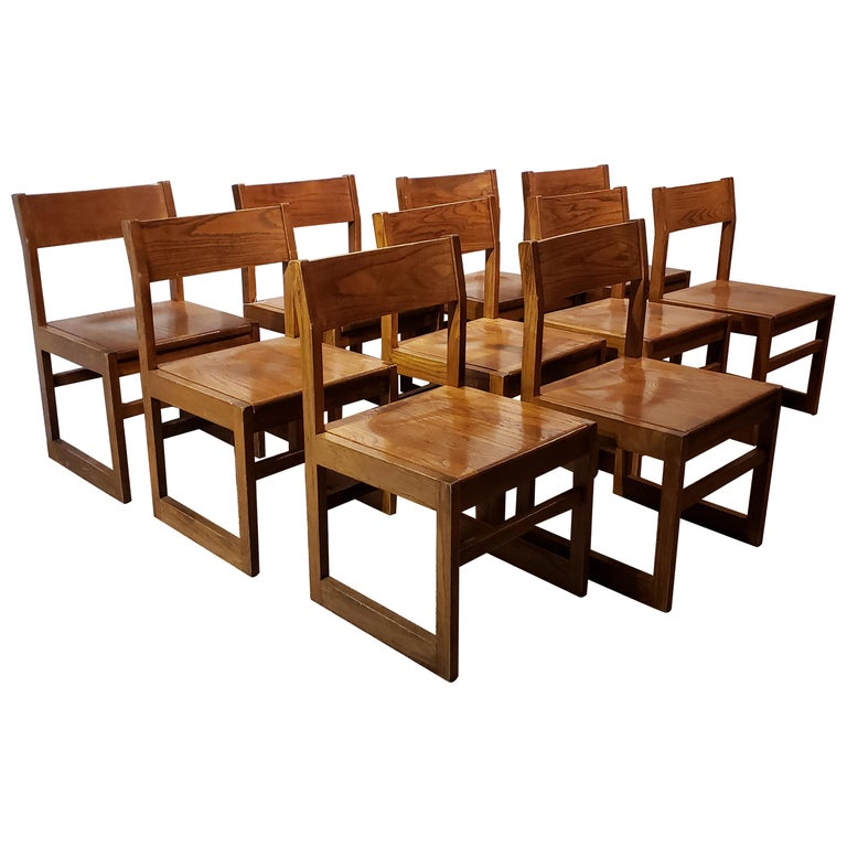 Set of Ten American Oak Dining Chairs For Sale