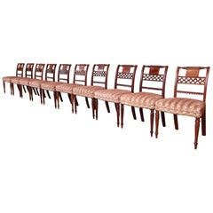 Set of Ten Antique English Regency Carved Mahogany Dining Chairs, Circa 1840s