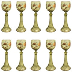 Set of Ten Antique German Rhine Wine Glasses, circa 1910