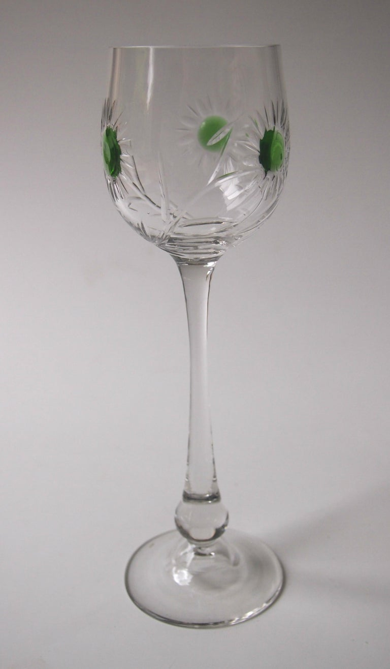 Set of Ten Art Nouveau German Jean Beck Crystal Glass Hock Glasses In Good Condition For Sale In London, GB