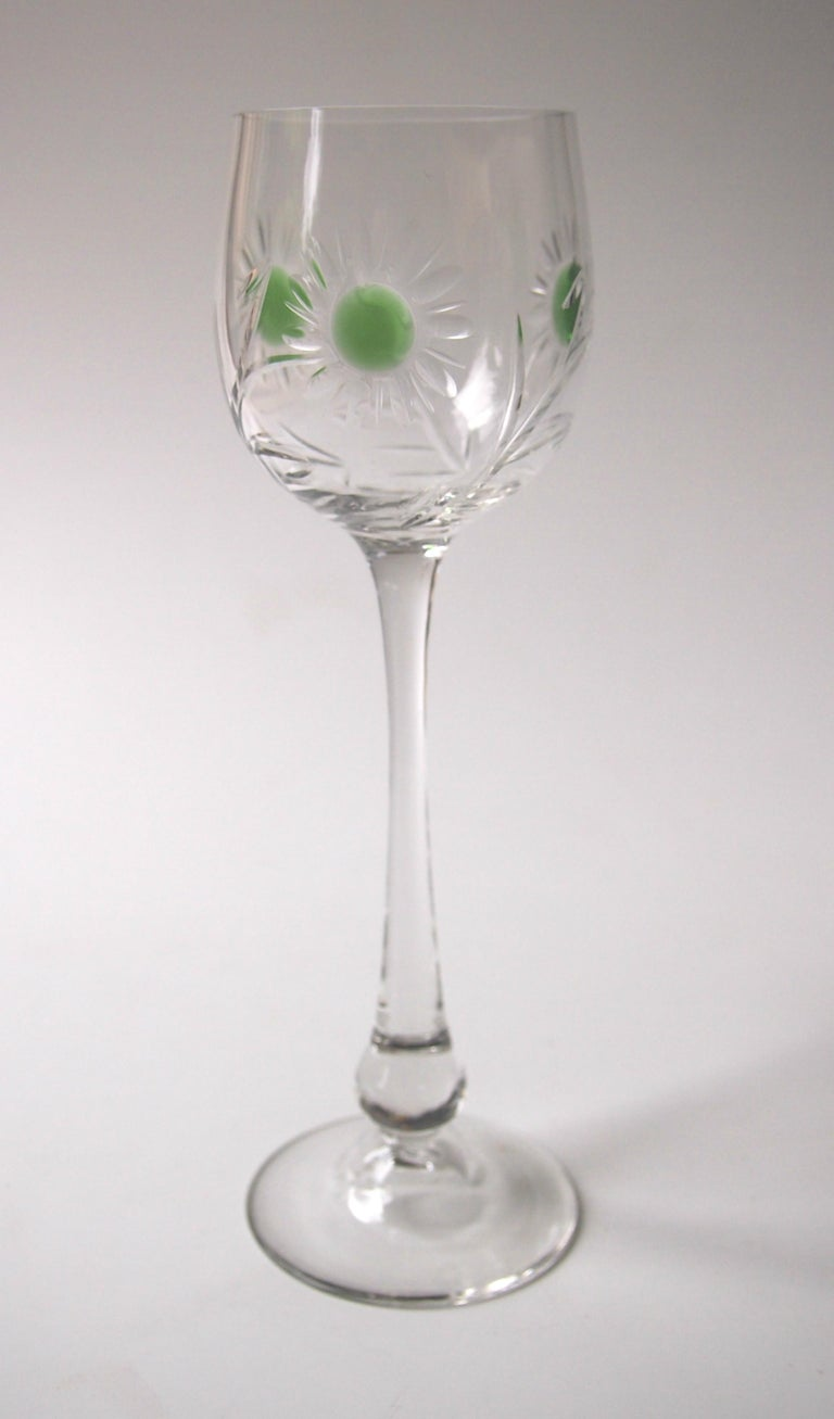 Early 20th Century Set of Ten Art Nouveau German Jean Beck Crystal Glass Hock Glasses For Sale
