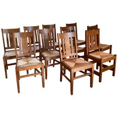 Set of Ten Arts & Crafts Stickley Style Oak Dining Chairs