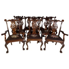 Set of Ten Beautifully Hand Carved Mahogany Chippendale Style Chairs, circa 1870