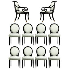 Set of Ten Black Lacquered French Neoclassical Styled Dining Chairs