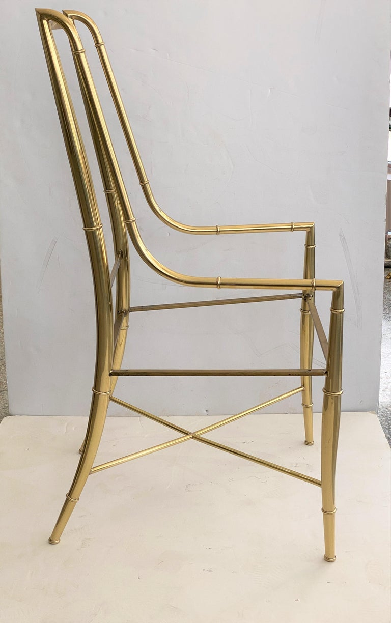 Set of Ten Brass Dining Chairs by Mastercraft In Good Condition For Sale In West Palm Beach, FL