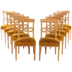 Set of Ten Brass-Inlaid Dining Chairs in the Regency Manner