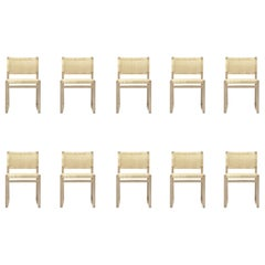 Set of Ten Børge Mogensen 61 Dining Chairs in Oak and Woven Cane Wicker
