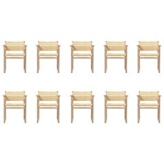 Set of Ten Børge Mogensen BM 62 Armchairs in Oak and Woven Cane Wicker