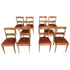 Set of Ten Bronze Fabric and Walnut Dining Chairs, Italy, 1930s-1940s
