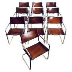 Set of Ten Cantilever Dining Armchairs in Leather and Chrome After Mart Stam