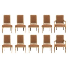 Set of Ten Carved and Custom Upholstered French Style Dining Chairs
