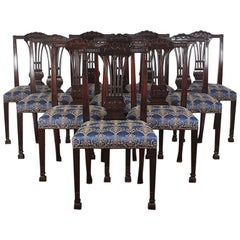 Set of Ten Carved Mahogany Sheraton Revival Chairs Made in Chicago