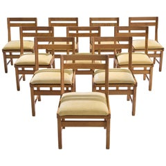 Set of Ten Carved Oak Dining Chairs by Guillerme and Chambron