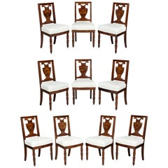 Set of Ten Charles X Mahogany and Inlaid Dining Chairs