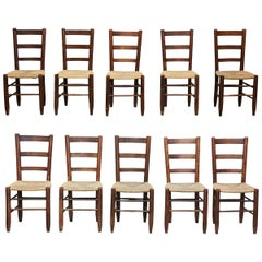 Set of Ten Charlotte Perriand Mid-Century Modern Wood Rattan French Nº 19 Chairs