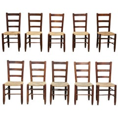 Set of Ten Charlotte Perriand Mid-Century Modern Wood Rattan French N19 Chairs