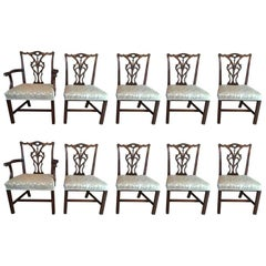 Set of Ten Chippendale Chairs, Eight Side and Two Armchairs, 20th Century