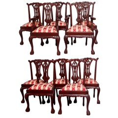 Set of Ten Chippendale Style Carved Mahogany Ribbon Back Dining Chairs