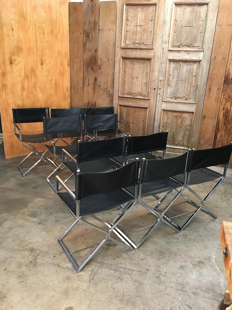 Set of Ten Chrome Director Style Chairs, 1970s For Sale 3