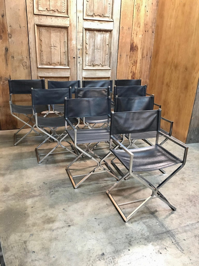 Mid-Century Modern Set of Ten Chrome Director Style Chairs, 1970s For Sale