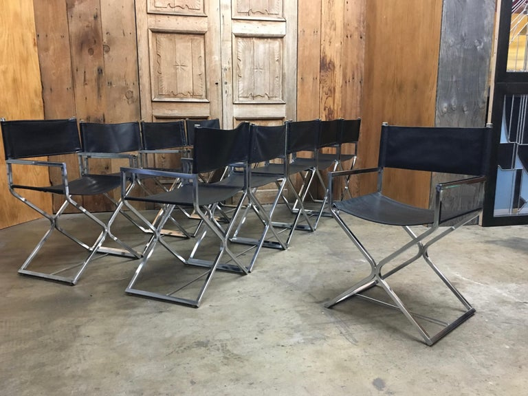 Faux Leather Set of Ten Chrome Director Style Chairs, 1970s For Sale