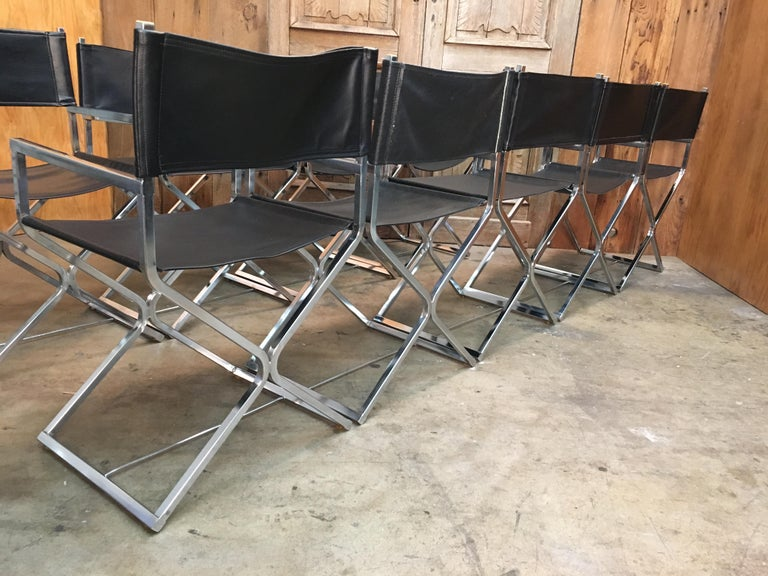 Set of Ten Chrome Director Style Chairs, 1970s For Sale 1