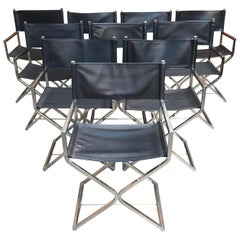 Set of Ten Chrome Director Style Chairs, 1970s