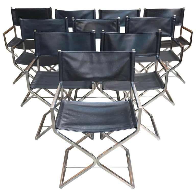 Set of Ten Chrome Director Style Chairs, 1970s For Sale