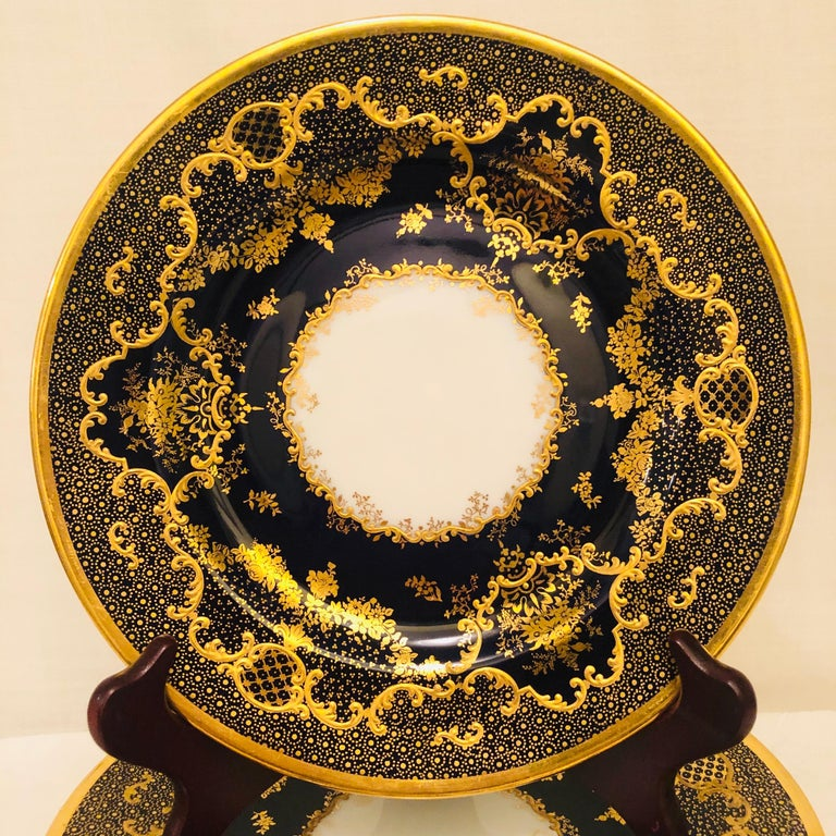 Rococo Set of Ten Cobalt Copelands China Plates with Raised Gilded Fancy Border For Sale