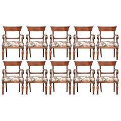 Set of Ten Custom William XVI Style Armchairs