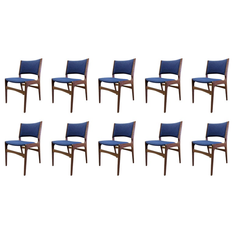 Set of Ten Danish Fully Restored Erik Buch Dining Chairs, Inc. Re-Upholstery For Sale