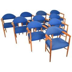 Set of Ten Danish Kurt Olsen Mid Century Armchairs Chairs in Teak
