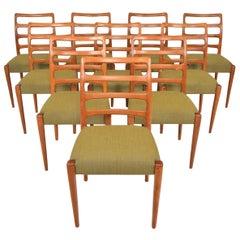 Set of Ten Danish Ladderback Mid Century Dining Chairs in Teak