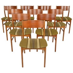 Set of Ten Danish Modern Dining Chairs in Teak and Beech