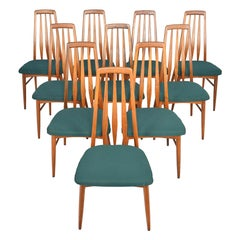 Set of Ten Danish Modern Eva Highback Dining Chairs in Walnut by Niels Koefoed