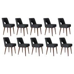 Set of Ten Dark Gray Boucle 'Shell' Chairs, 1960s