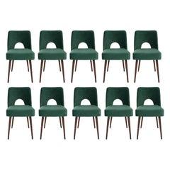 Set of Ten Dark Green Velvet 'Shell' Chairs, 1960s