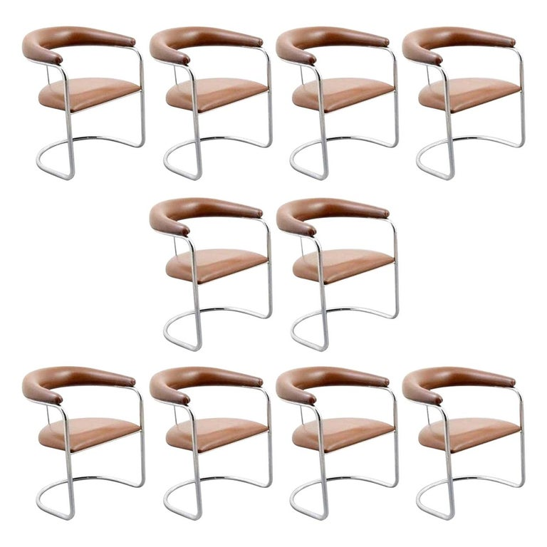 Set of Ten Dining Chairs by Anton Lorenz for Thonet For Sale