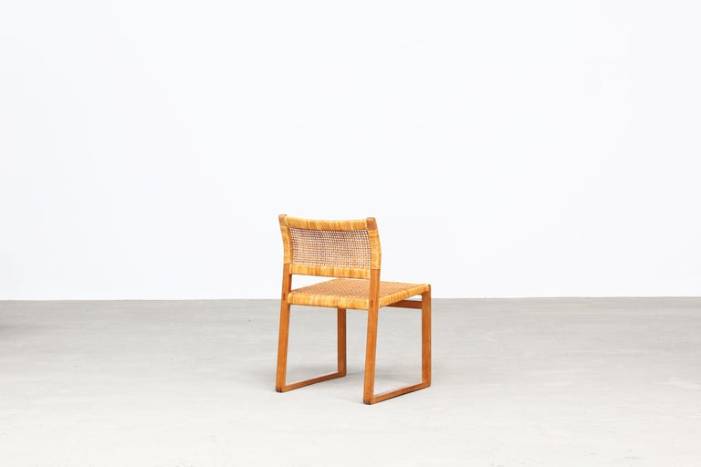 Cane Set of Ten Dining Chairs by Børge Mogensen for Fredericia in Oak, Denmark For Sale