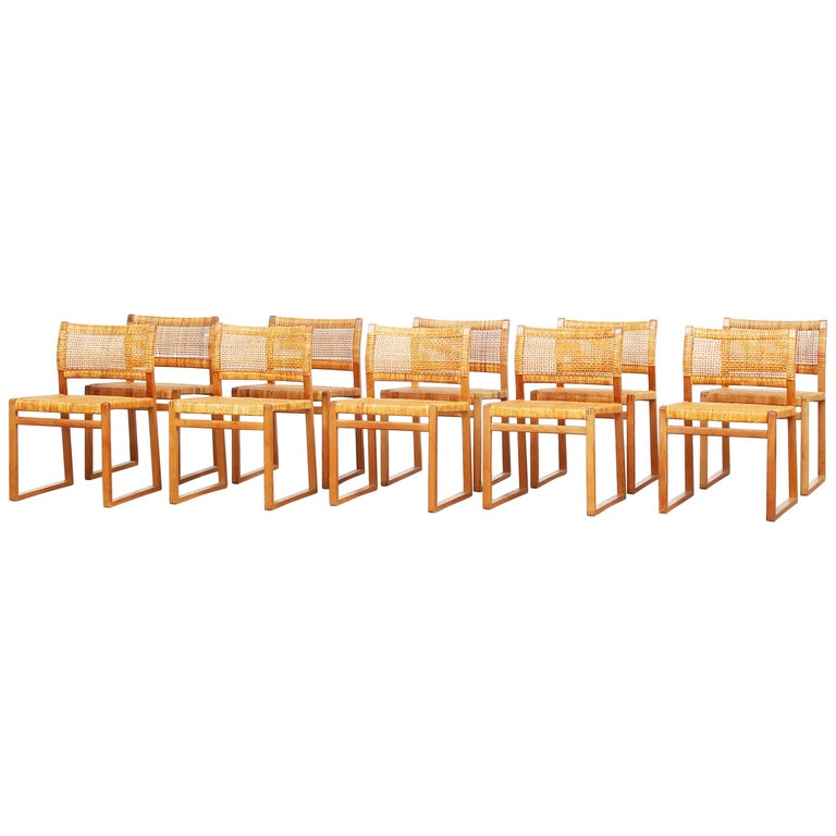 Set of Ten Dining Chairs by Børge Mogensen for Fredericia in Oak, Denmark For Sale