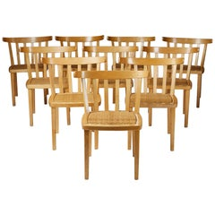 Set of Ten Dining Chairs Designed by Aino Aalto for Artek, Finland, 1950s