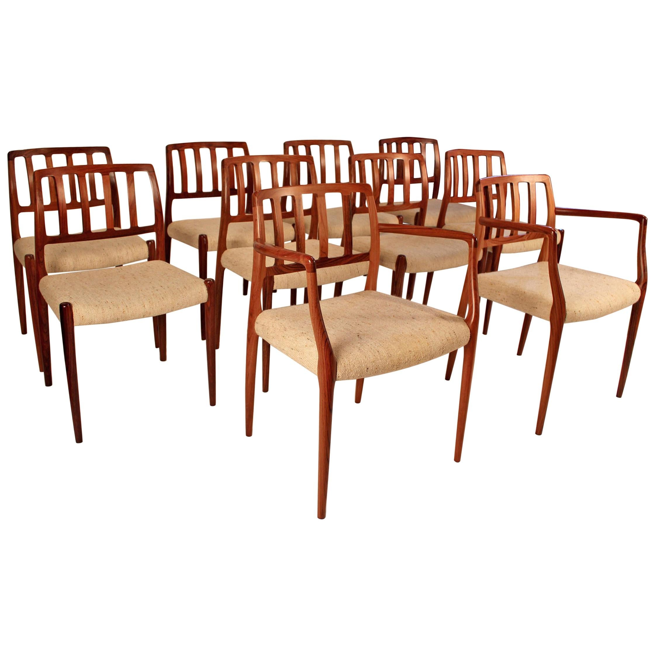 Set of Ten Dining Chairs in East Indian Rosewood by Niels Otto Moller