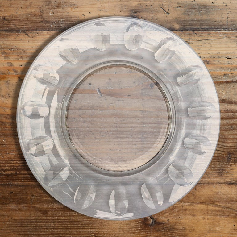 A wonderful set of ten cut crystal salad plates with a panel cut thumb print pattern, perfect for your next garden or lunch party!